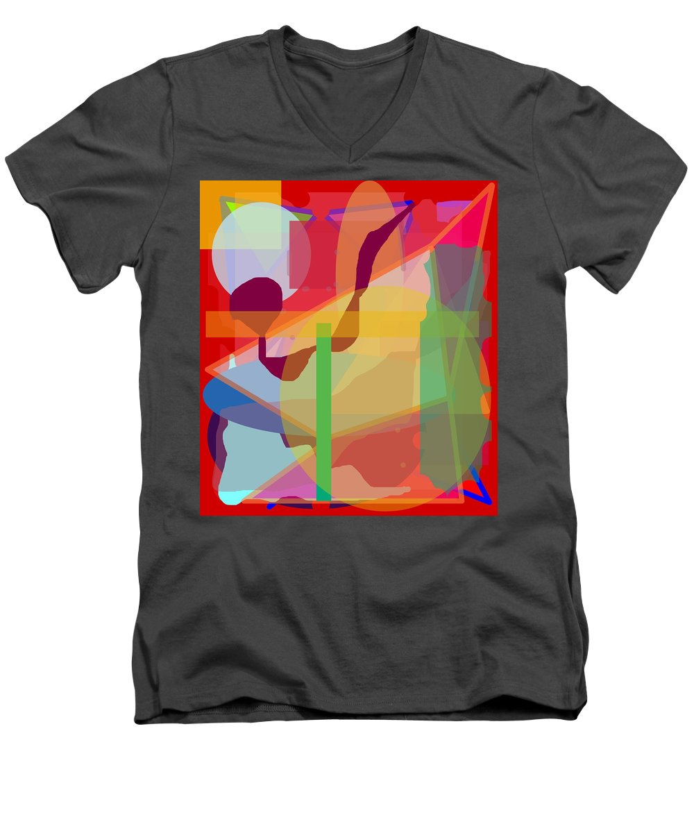 Abstract Men's V-Neck T-Shirt featuring the painting Geo Frenzy by Pharris Art