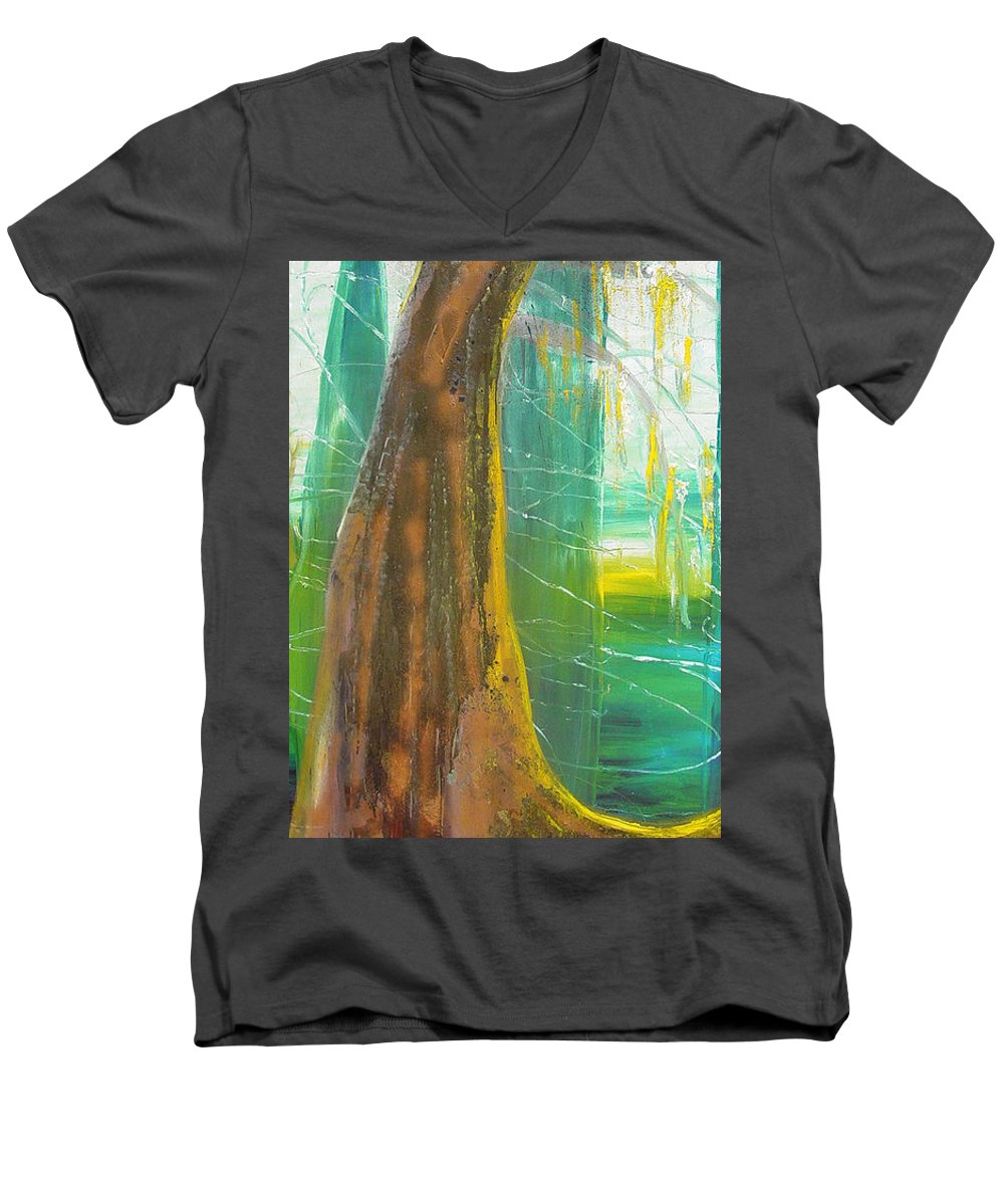 Landscape Men's V-Neck T-Shirt featuring the painting Georgia Morning by Peggy Blood