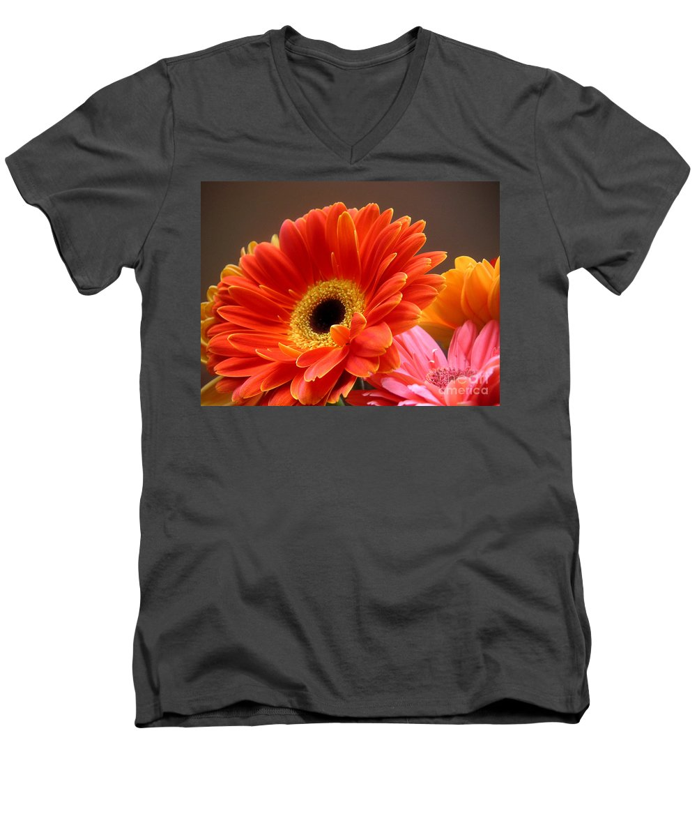 Nature Men's V-Neck T-Shirt featuring the photograph Gerbera Daisies - Luminous by Lucyna A M Green