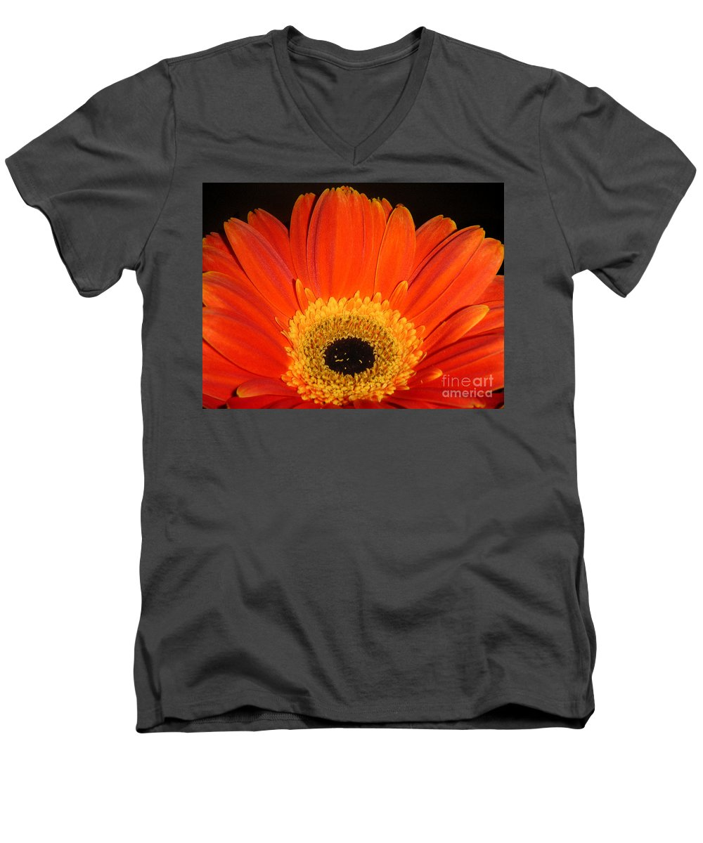 Nature Men's V-Neck T-Shirt featuring the photograph Gerbera Daisy - Glowing In The Dark by Lucyna A M Green
