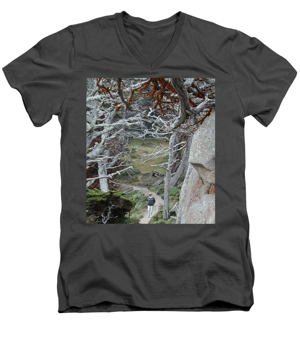 Lichens Men's V-Neck T-Shirt featuring the photograph Ghost Trees by Douglas Barnett