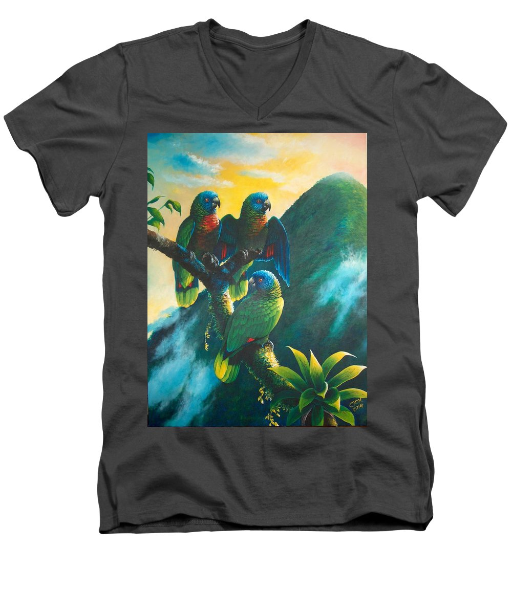 Chris Cox Men's V-Neck T-Shirt featuring the painting Gimie Dawn 1 - St. Lucia Parrots by Christopher Cox