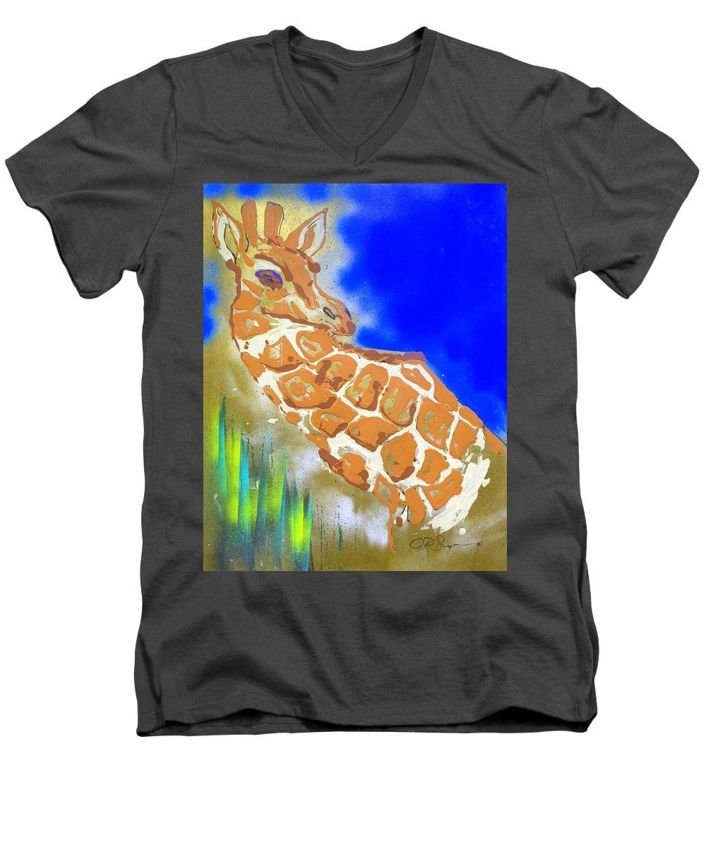 Giraffe Men's V-Neck T-Shirt featuring the painting Giraffe by J R Seymour