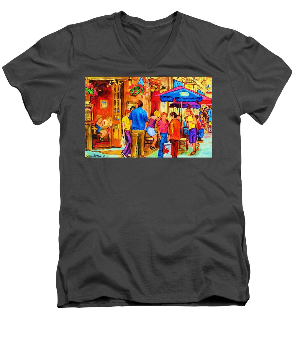 Montreal Cafe Scenes Men's V-Neck T-Shirt featuring the painting Girl In The Cafe by Carole Spandau
