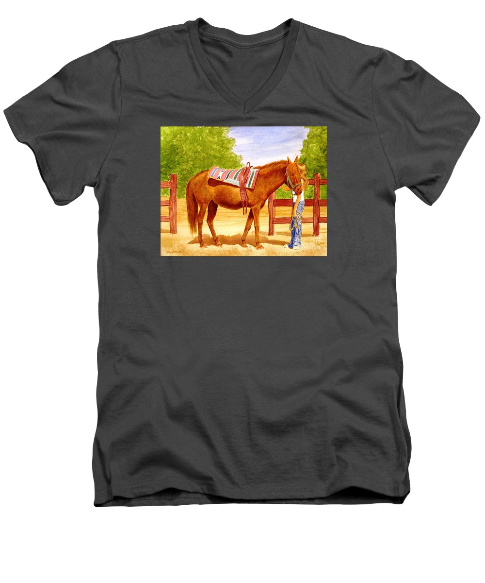 Equine Men's V-Neck T-Shirt featuring the painting Girl Talk by Stacy C Bottoms