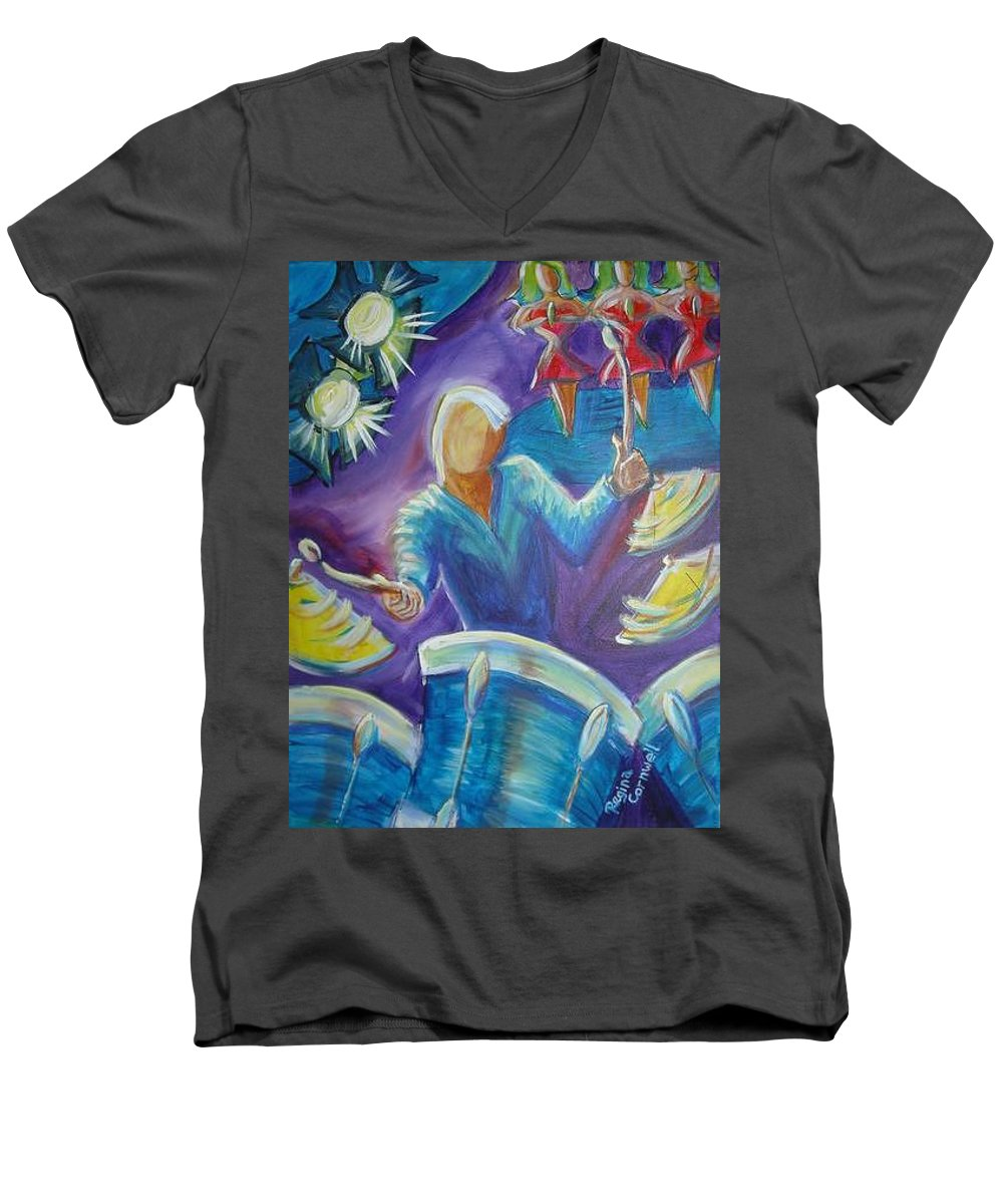 Jazz Men's V-Neck T-Shirt featuring the painting Give Me A Beat by Regina Walsh
