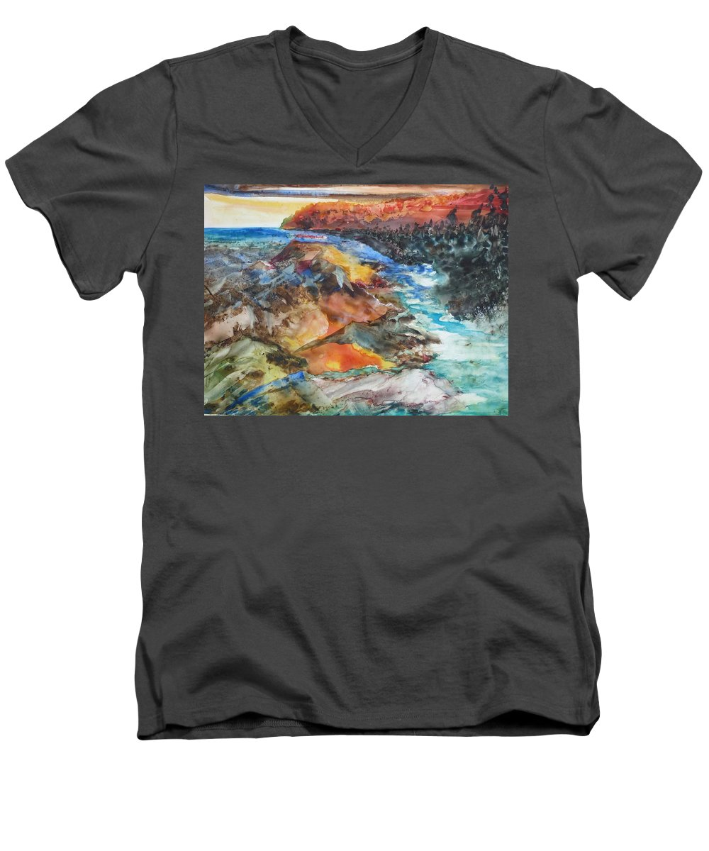 Abstract Men's V-Neck T-Shirt featuring the painting Glacial Meltdown by Ruth Kamenev