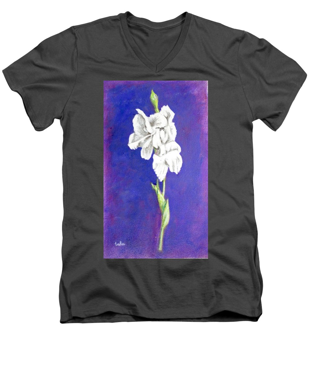 Men's V-Neck T-Shirt featuring the painting Gladiolus 2 by Usha Shantharam