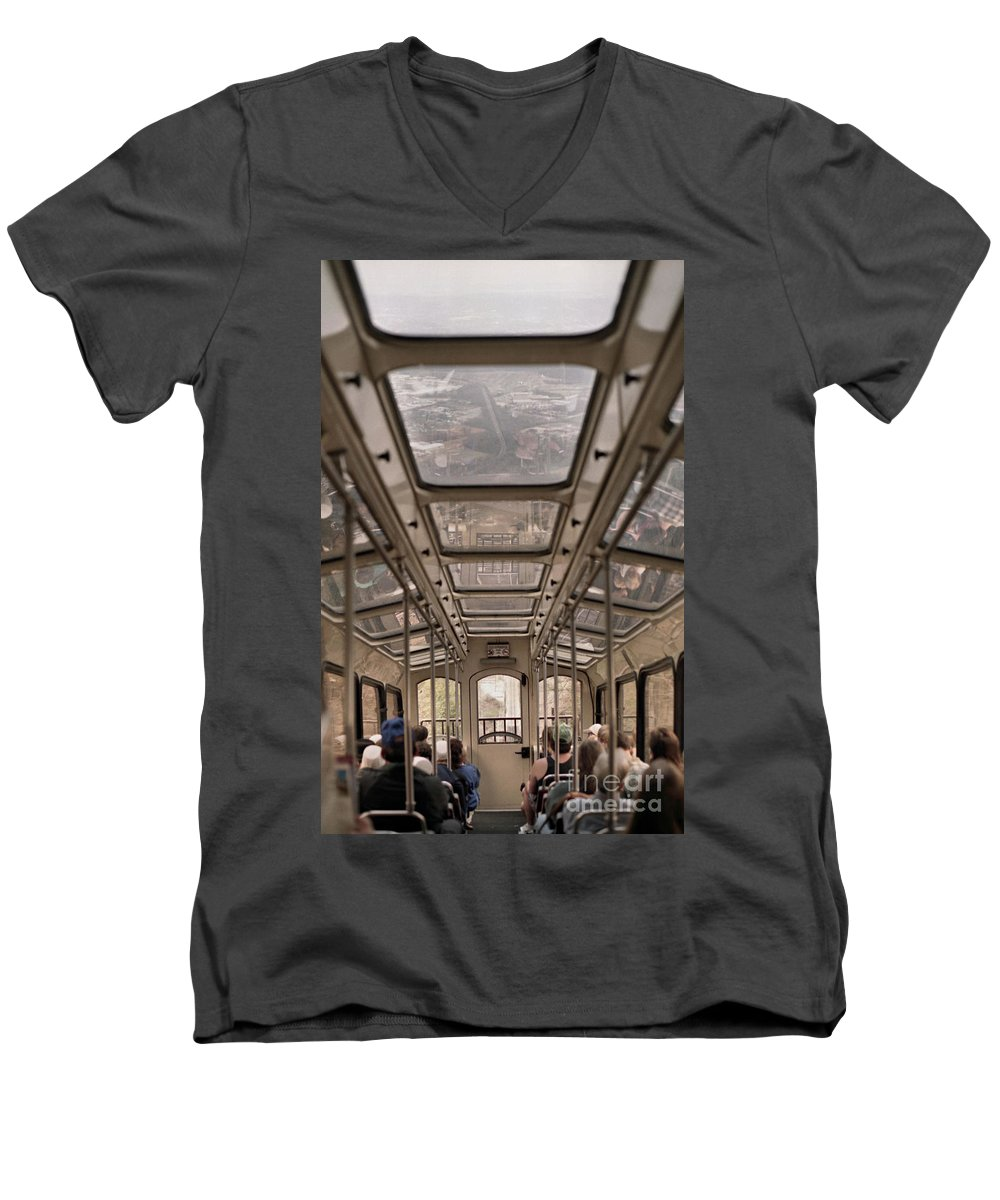Cable Car Men's V-Neck T-Shirt featuring the photograph Going Down by Richard Rizzo