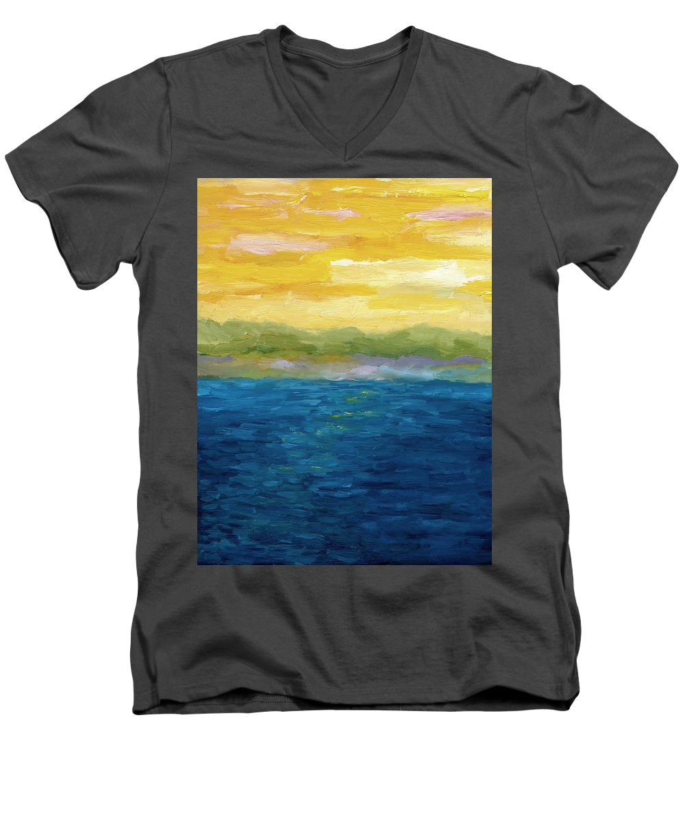 Lake Men's V-Neck T-Shirt featuring the painting Gold And Pink Sunset by Michelle Calkins