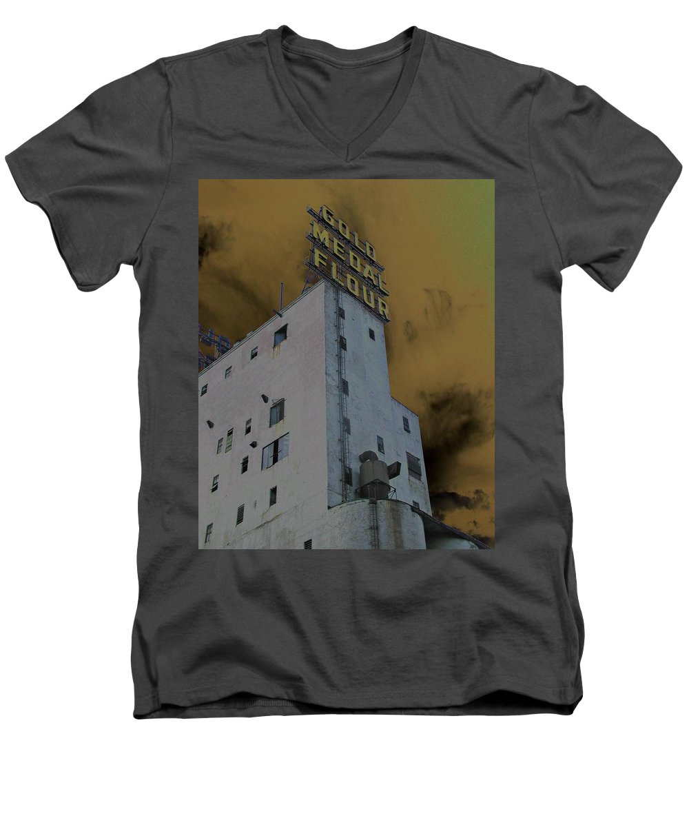 Minneapolis Men's V-Neck T-Shirt featuring the photograph Gold Medal Flour by Tom Reynen