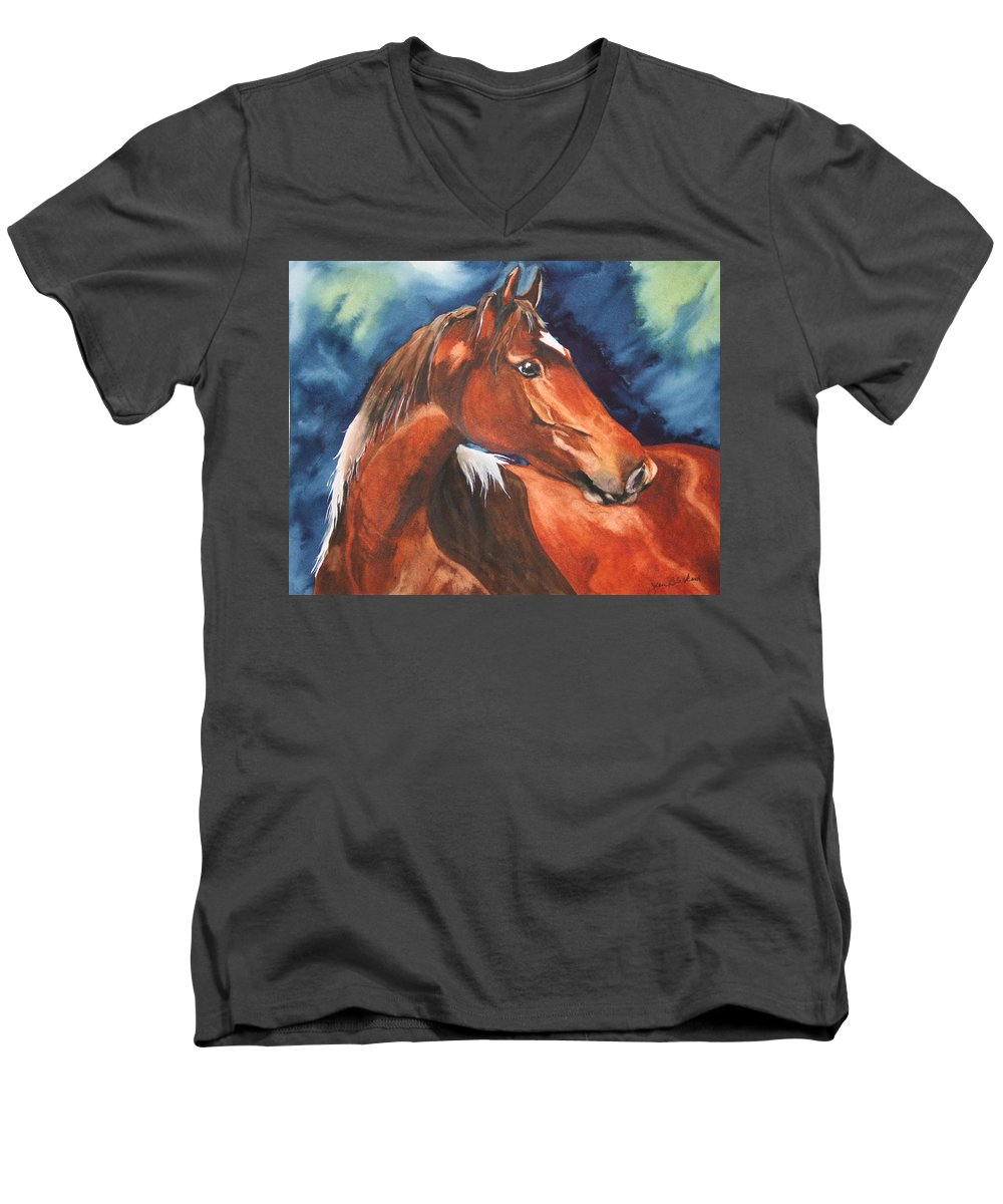 Horse Men's V-Neck T-Shirt featuring the painting Golden Boy by Jean Blackmer
