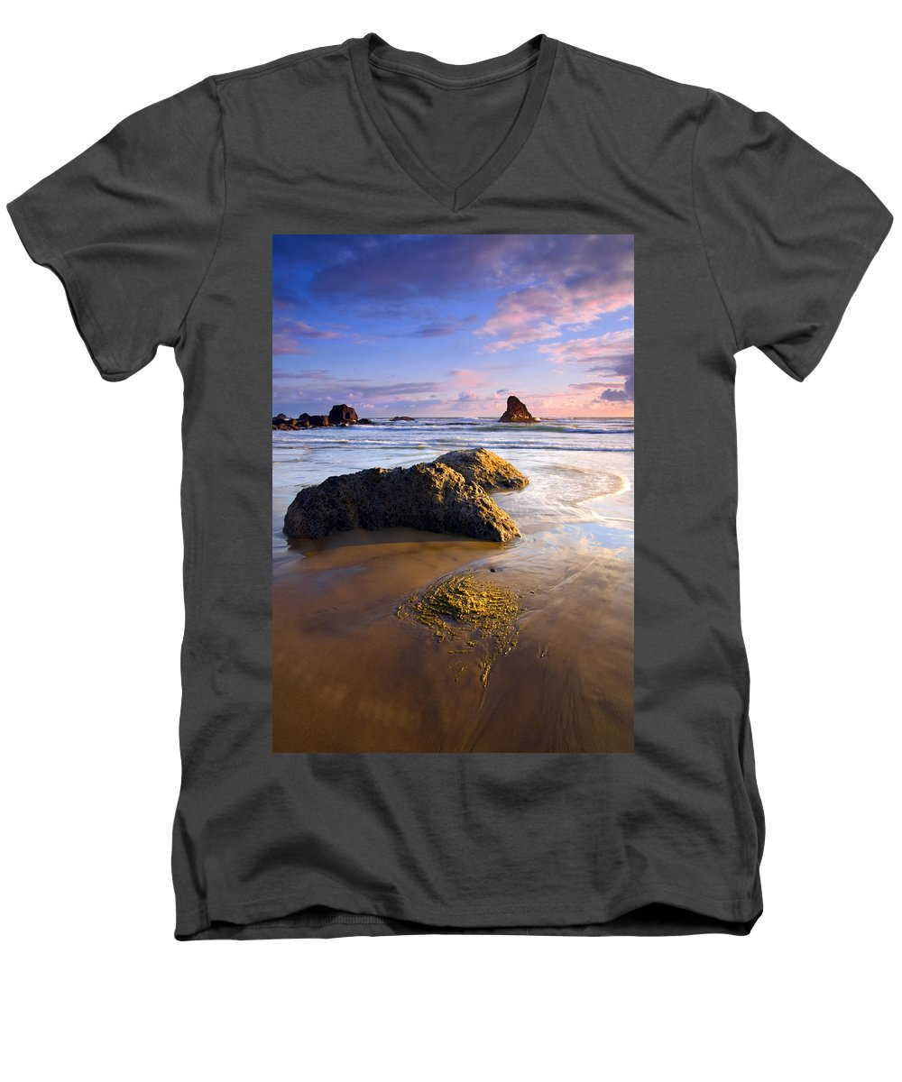 Beach Men's V-Neck T-Shirt featuring the photograph Golden Coast by Mike Dawson