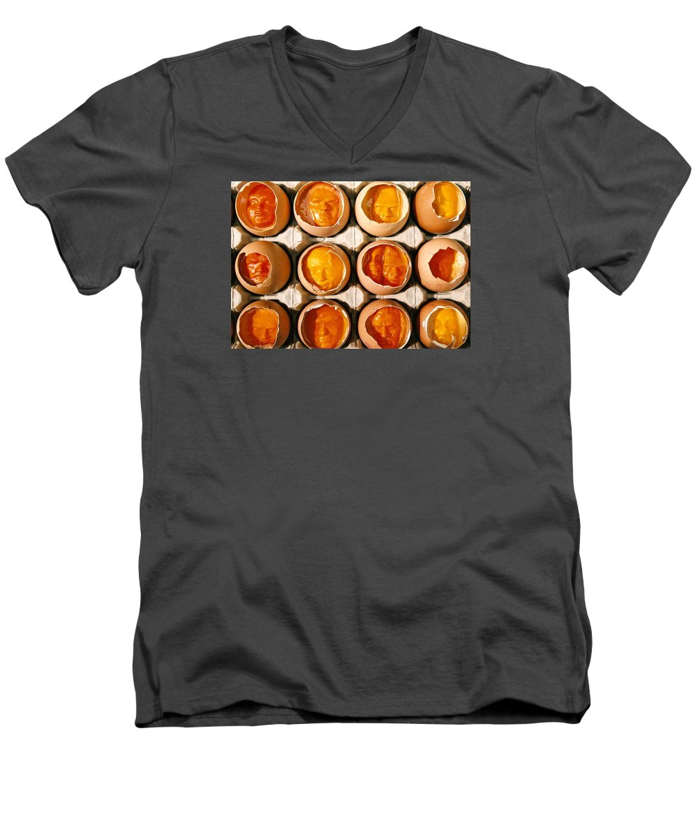 Eggs Men's V-Neck T-Shirt featuring the sculpture Golden Eggs by Mark Cawood