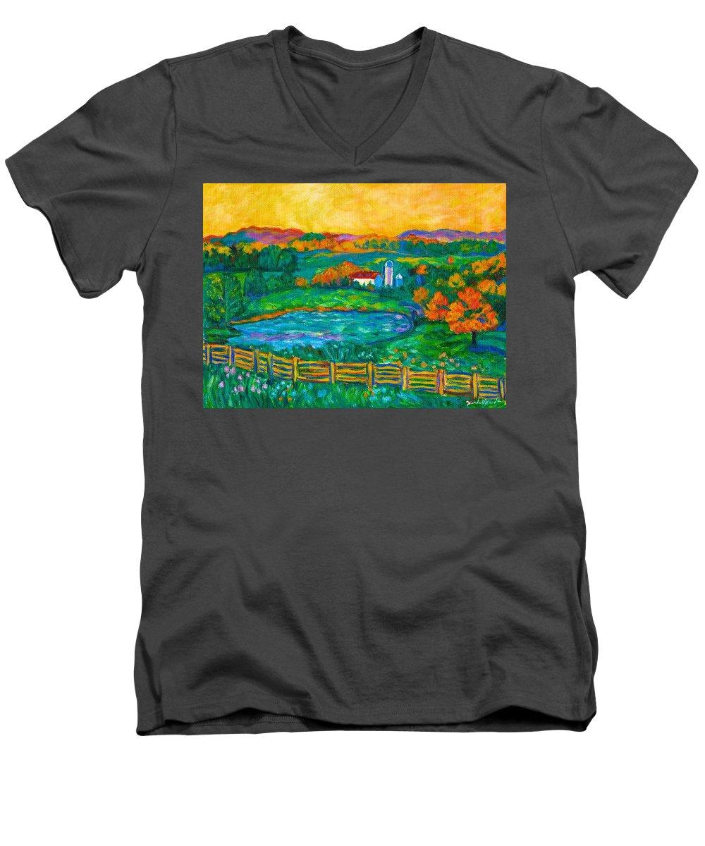 Landscape Men's V-Neck T-Shirt featuring the painting Golden Farm Scene Sketch by Kendall Kessler