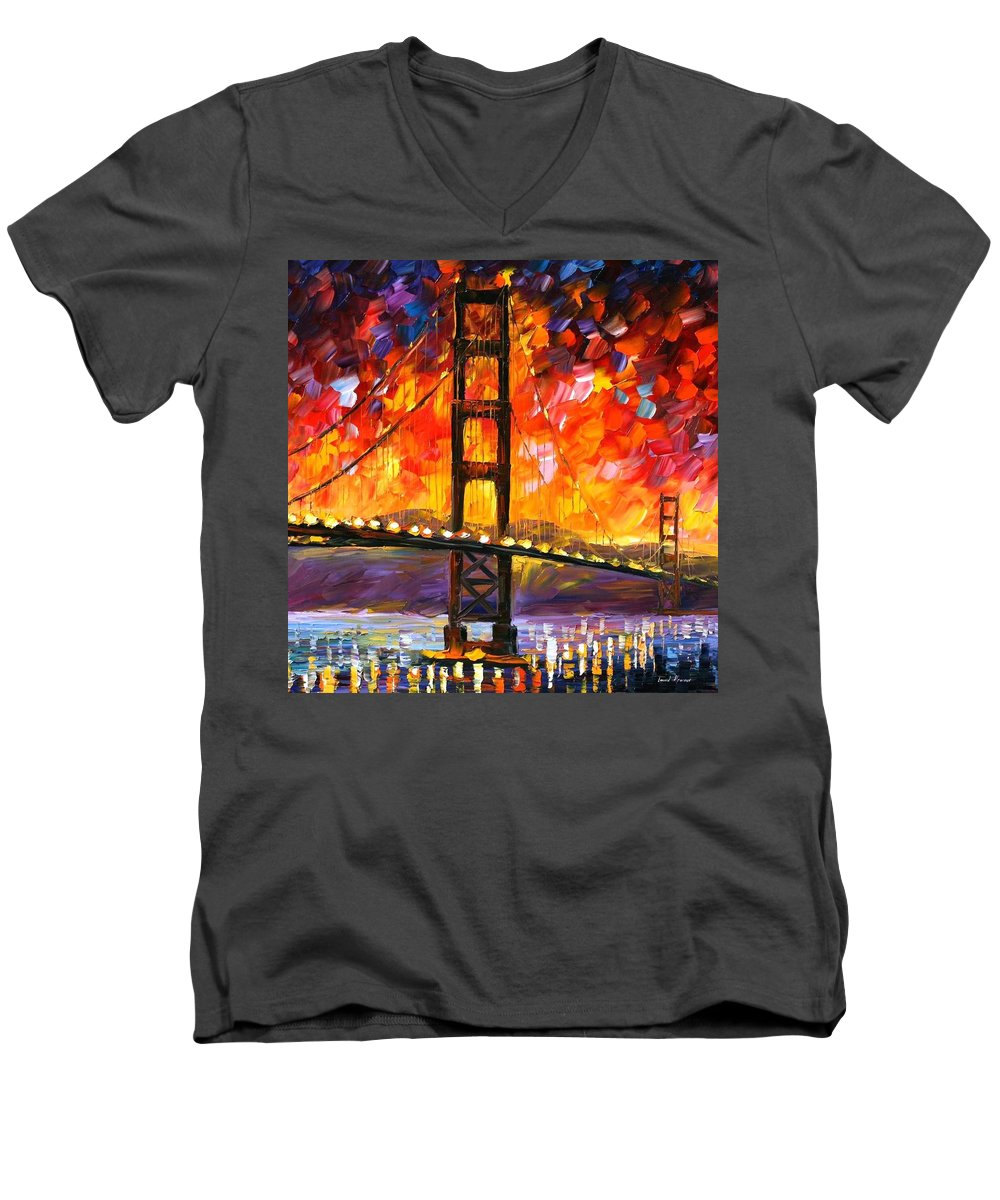 City Men's V-Neck T-Shirt featuring the painting Golden Gate Bridge by Leonid Afremov