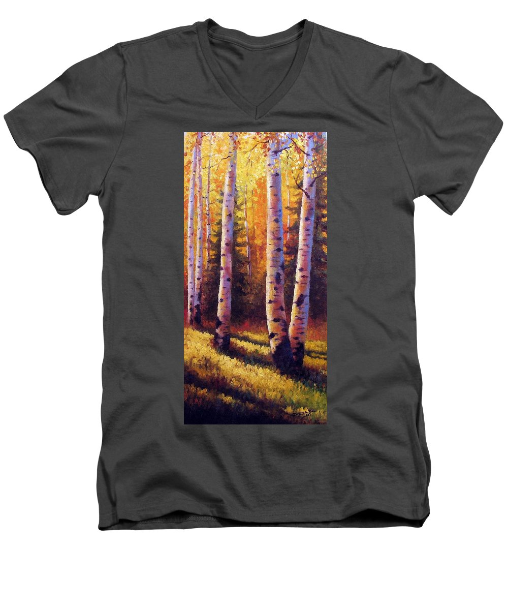 Light Men's V-Neck T-Shirt featuring the painting Golden Light by David G Paul