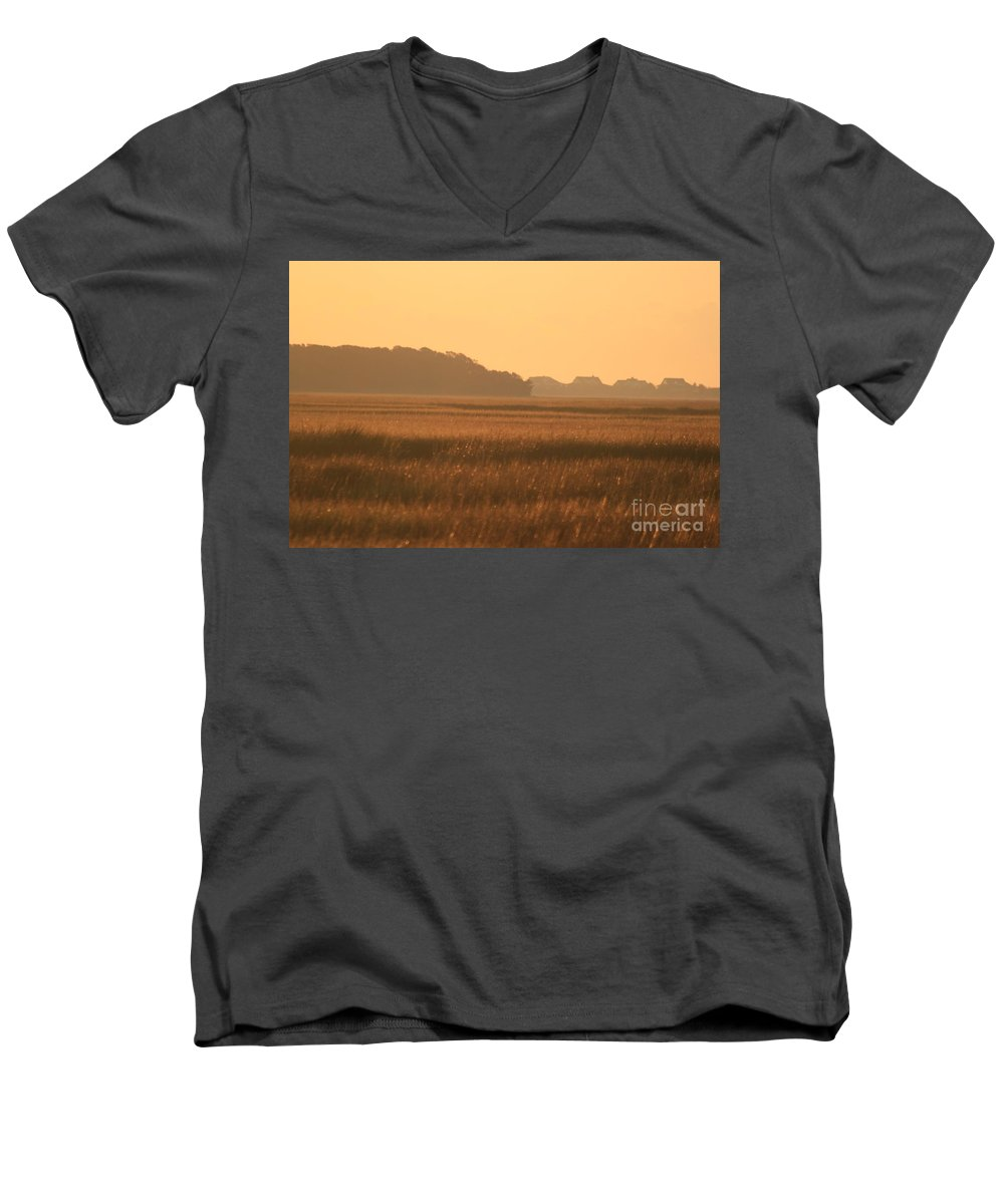 Marsh Men's V-Neck T-Shirt featuring the photograph Golden Marshes by Nadine Rippelmeyer