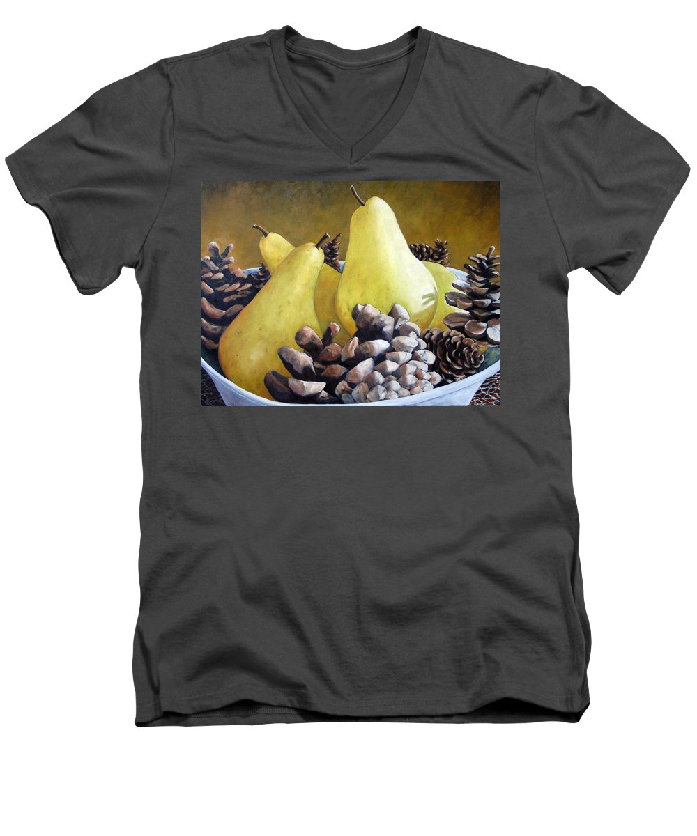 Canadian Men's V-Neck T-Shirt featuring the painting Golden Pears And Pine Cones by Richard T Pranke