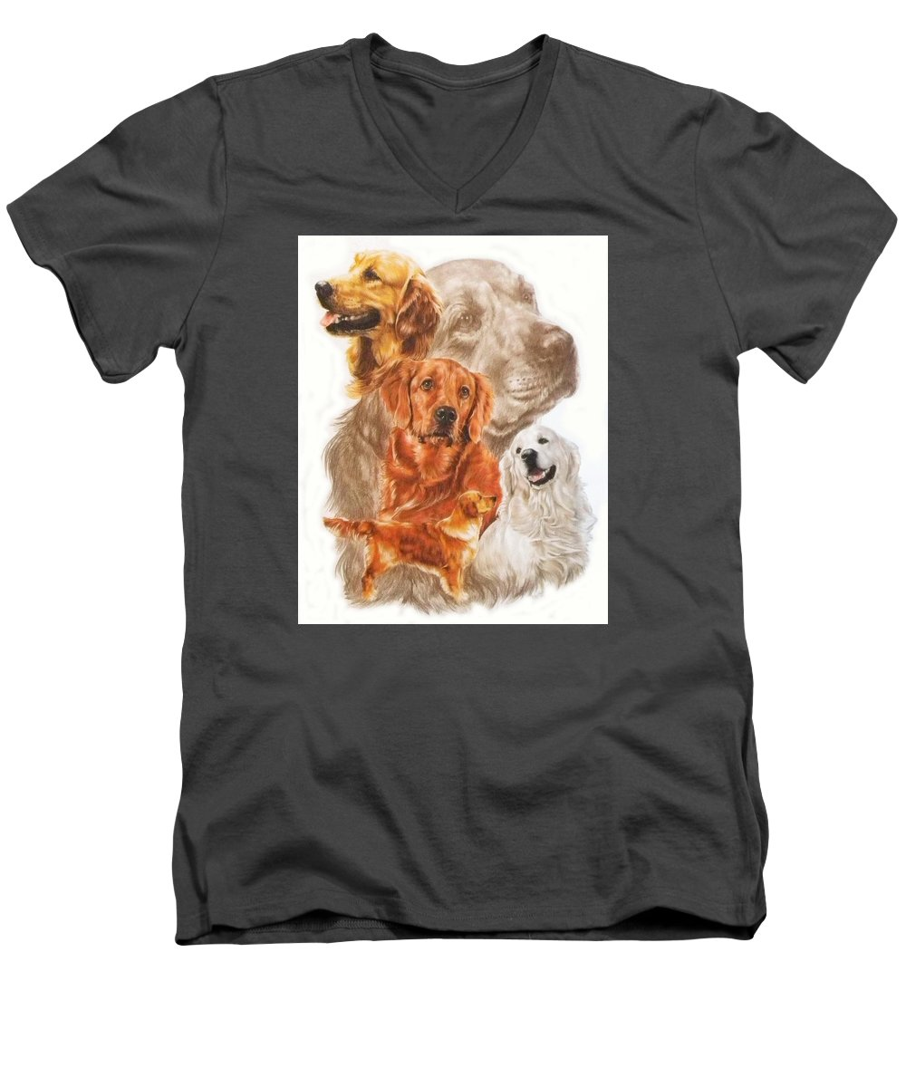 Dog Men's V-Neck T-Shirt featuring the mixed media Golden Retriever W/ghost by Barbara Keith