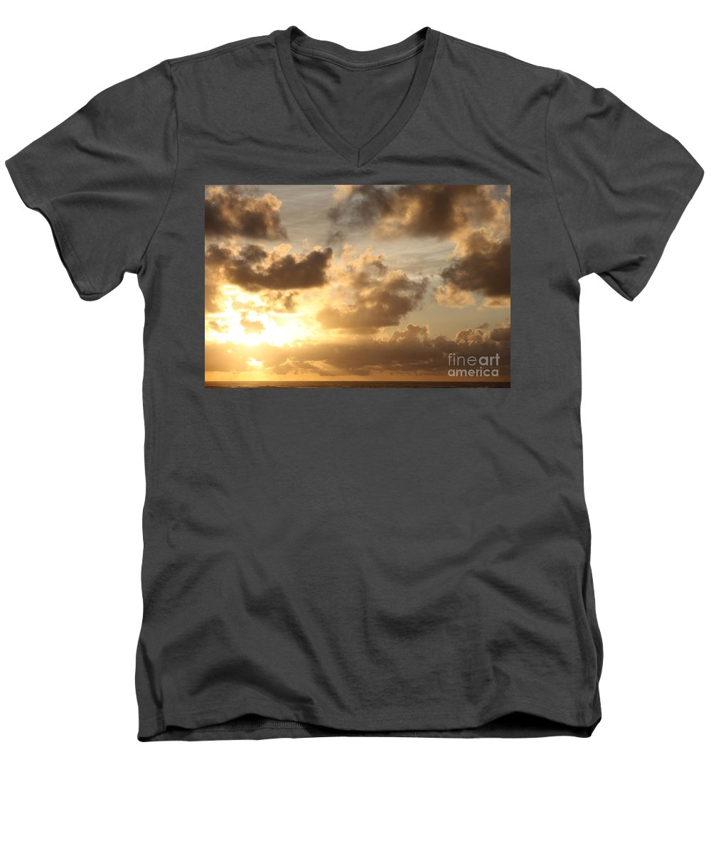 Sunrise Men's V-Neck T-Shirt featuring the photograph Golden Sunrise On Kauai by Nadine Rippelmeyer