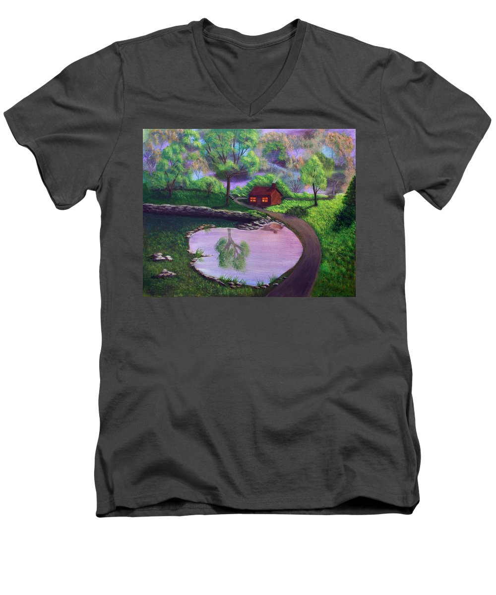 Light Men's V-Neck T-Shirt featuring the painting Good Spring Morning by Dawn Blair