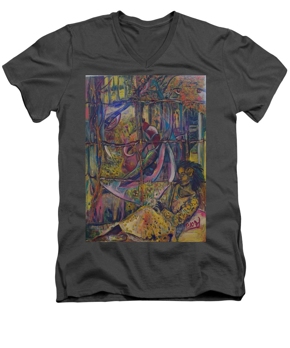 Mother Men's V-Neck T-Shirt featuring the painting Goodbye Sweet Dreams by Peggy Blood