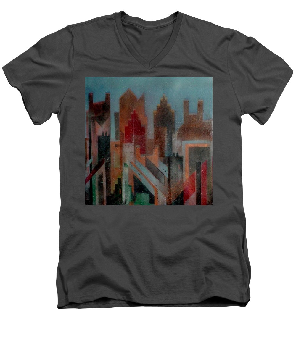 Abstract Men's V-Neck T-Shirt featuring the painting Gothem City by Anita Burgermeister