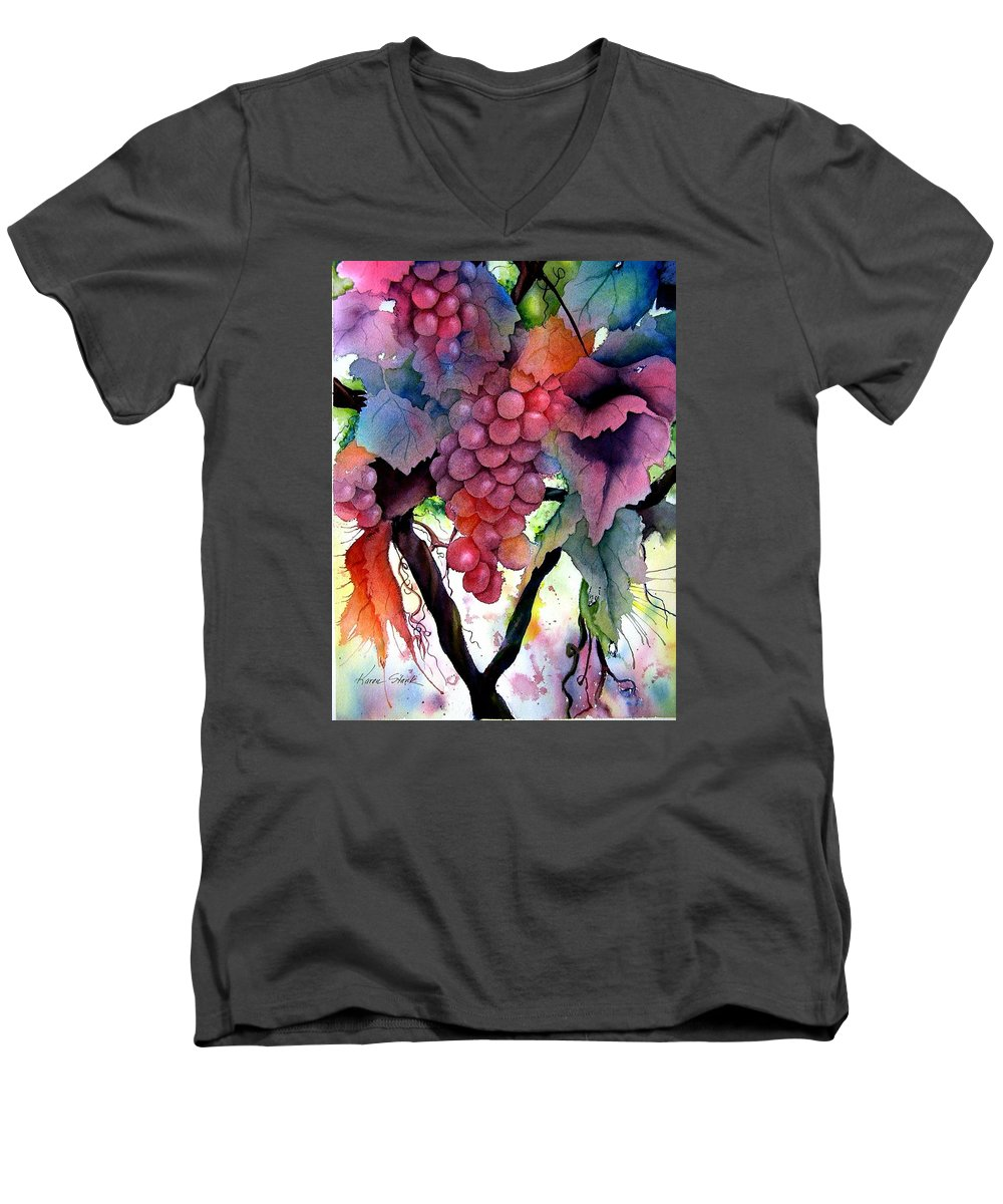 Grape Men's V-Neck T-Shirt featuring the painting Grapes IIi by Karen Stark