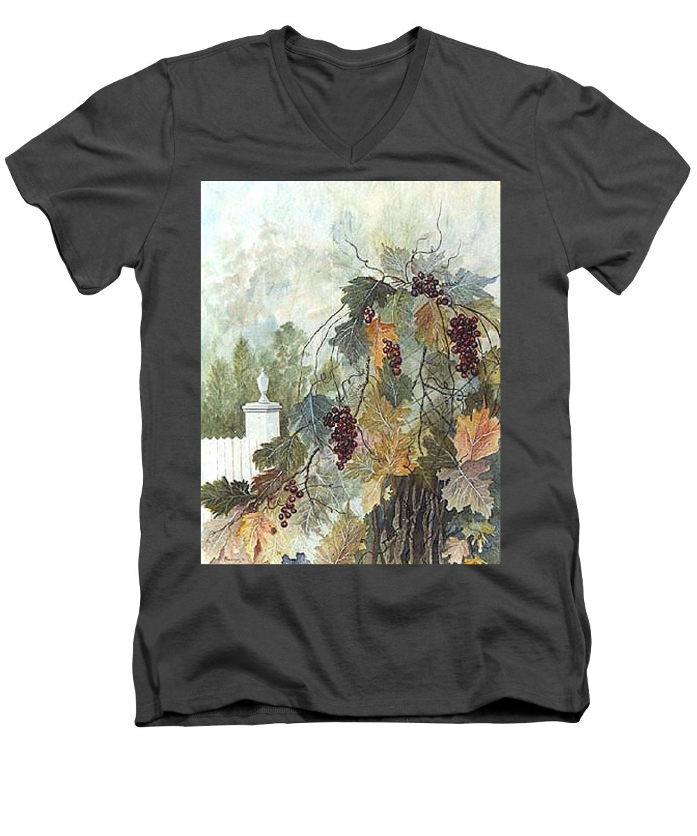 Fruit Men's V-Neck T-Shirt featuring the painting Grapevine Topiary by Ben Kiger