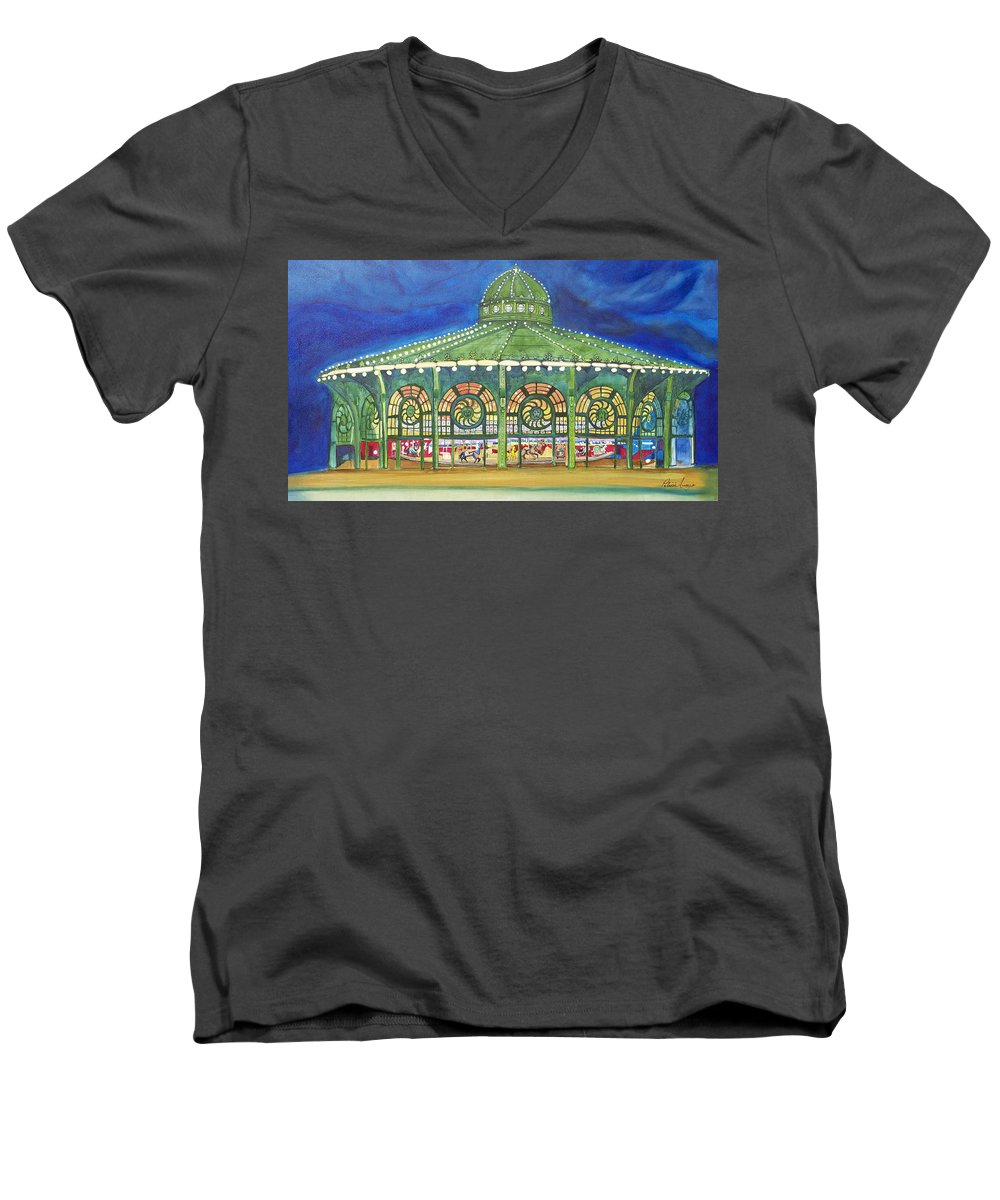 Night Paintings Of Asbury Park Men's V-Neck T-Shirt featuring the painting Grasping The Memories by Patricia Arroyo