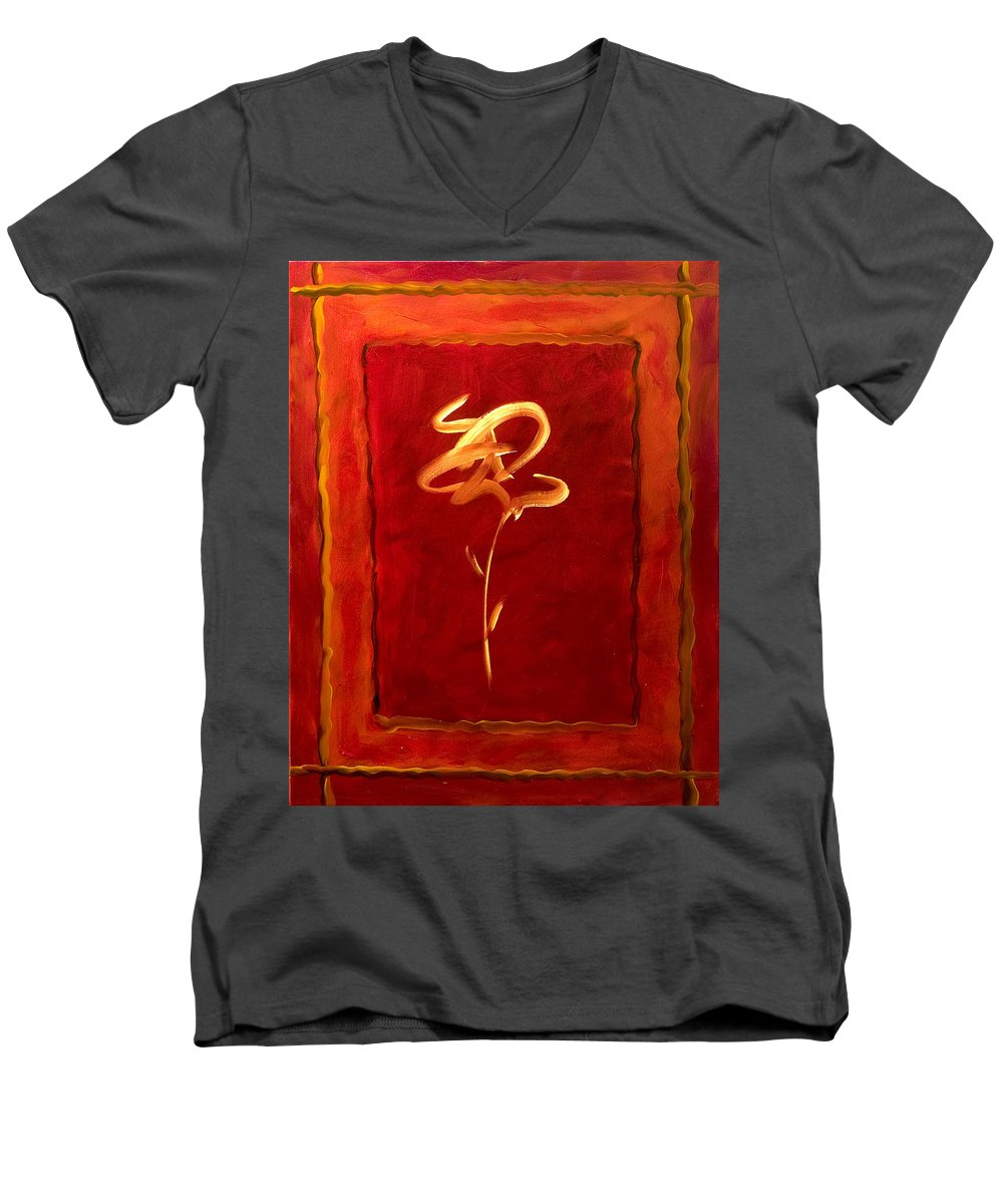 Abstract Flower Men's V-Neck T-Shirt featuring the painting Gratitude by Shannon Grissom