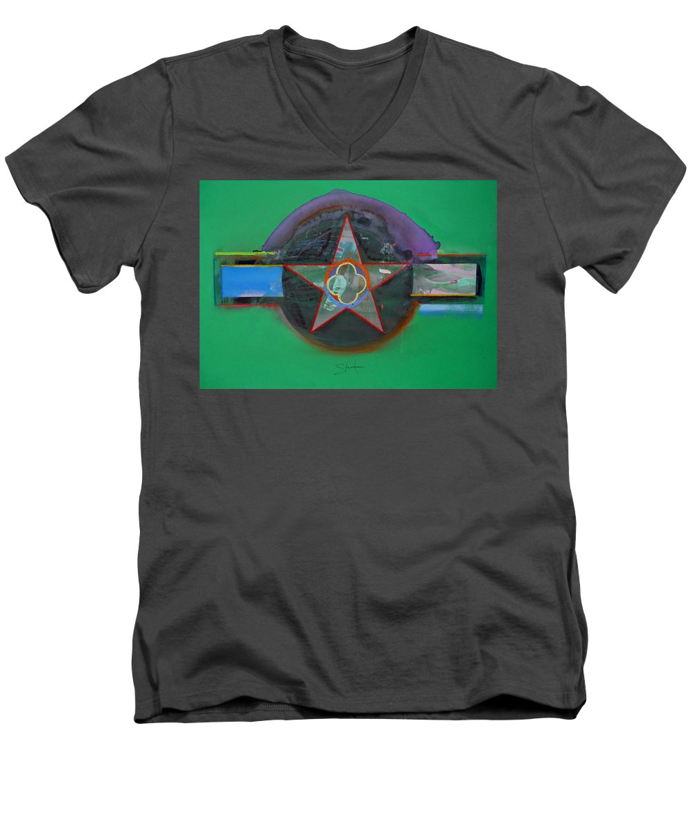 Star Men's V-Neck T-Shirt featuring the painting Green And Violet by Charles Stuart