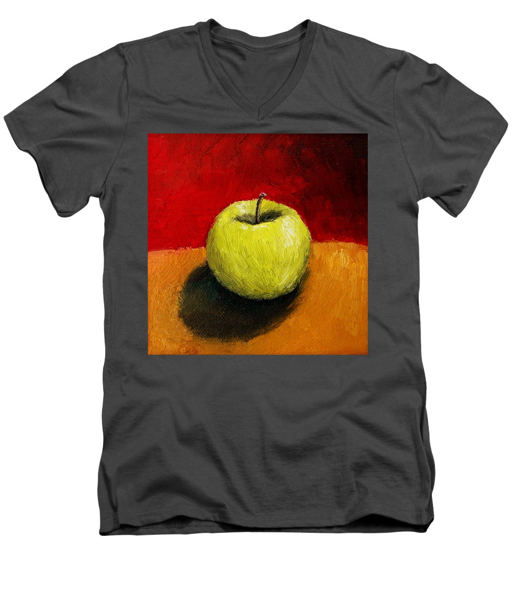 Apple Men's V-Neck T-Shirt featuring the painting Green Apple With Red And Gold by Michelle Calkins