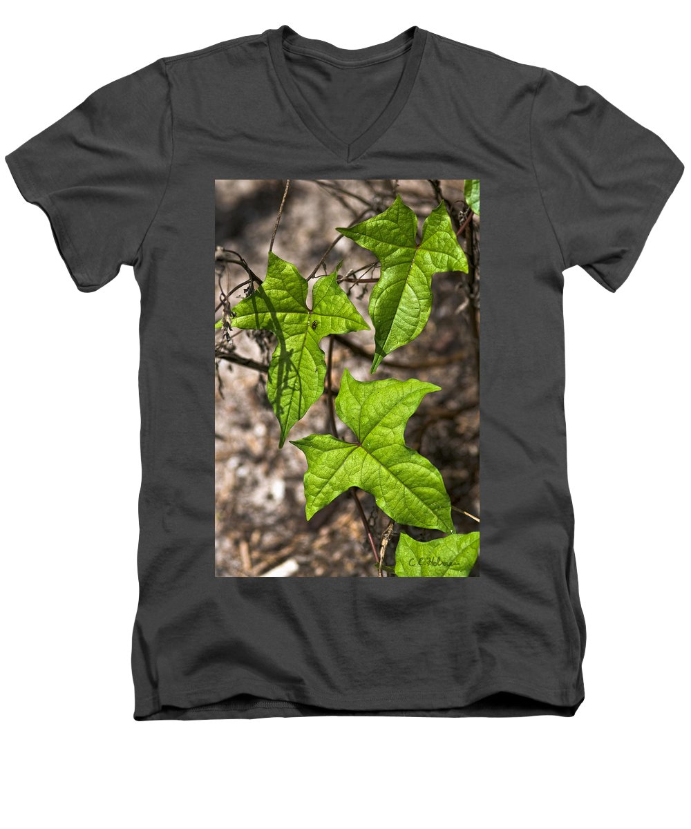 Green Men's V-Neck T-Shirt featuring the photograph Green Arrowheads by Christopher Holmes