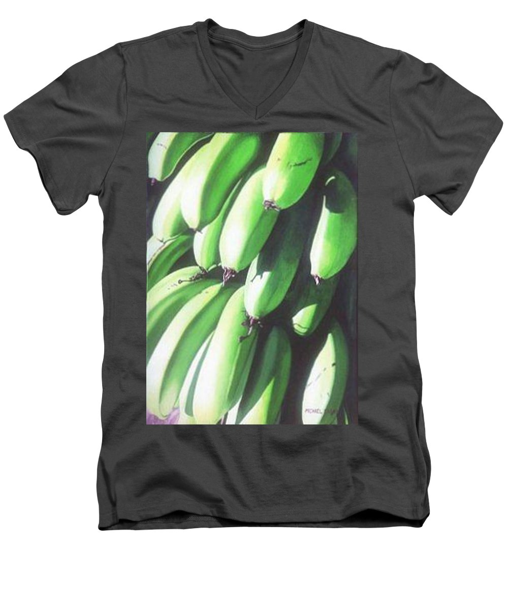 Hyperrealism Men's V-Neck T-Shirt featuring the painting Green Bananas I by Michael Earney