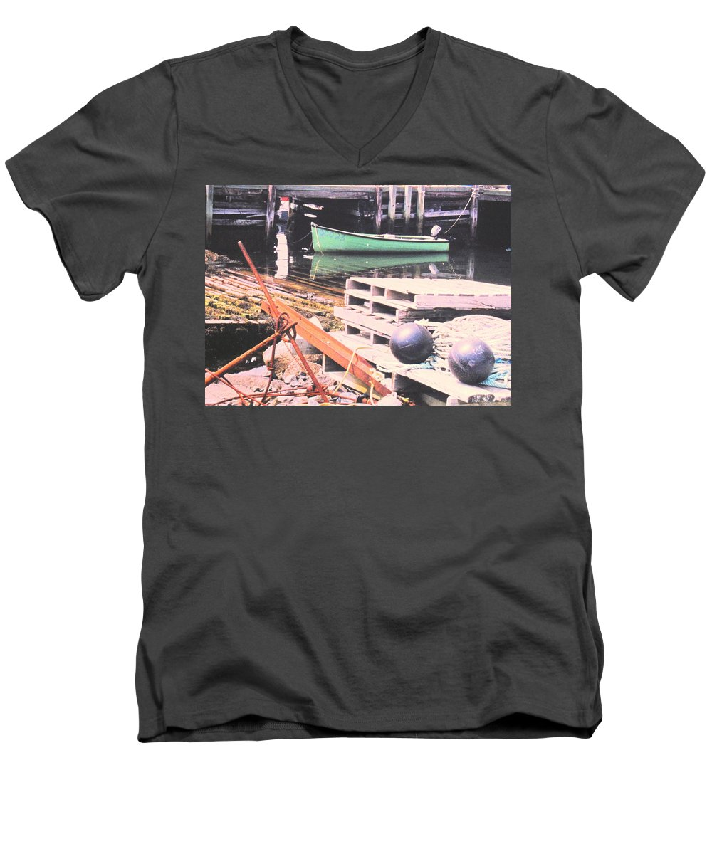 Green Men's V-Neck T-Shirt featuring the photograph Green Boat by Ian MacDonald