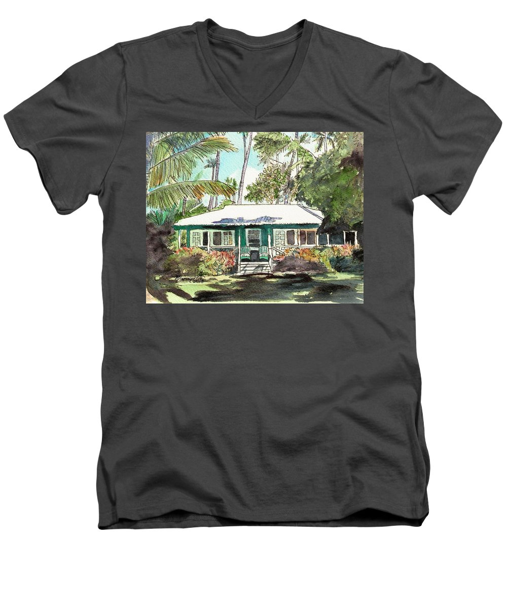 Cottage Men's V-Neck T-Shirt featuring the painting Green Cottage by Marionette Taboniar