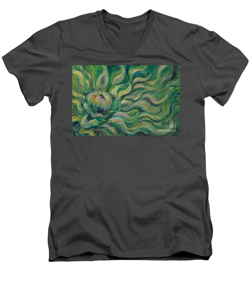 Green Men's V-Neck T-Shirt featuring the painting Green Flowing Flower by Nadine Rippelmeyer