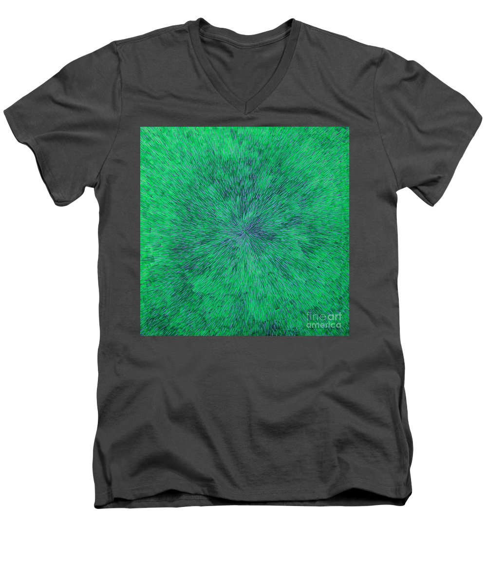 Abstract Men's V-Neck T-Shirt featuring the painting Green Radation With Violet by Dean Triolo