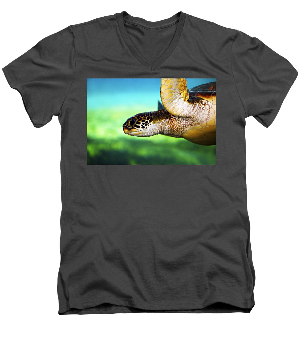 Green Men's V-Neck T-Shirt featuring the photograph Green Sea Turtle by Marilyn Hunt