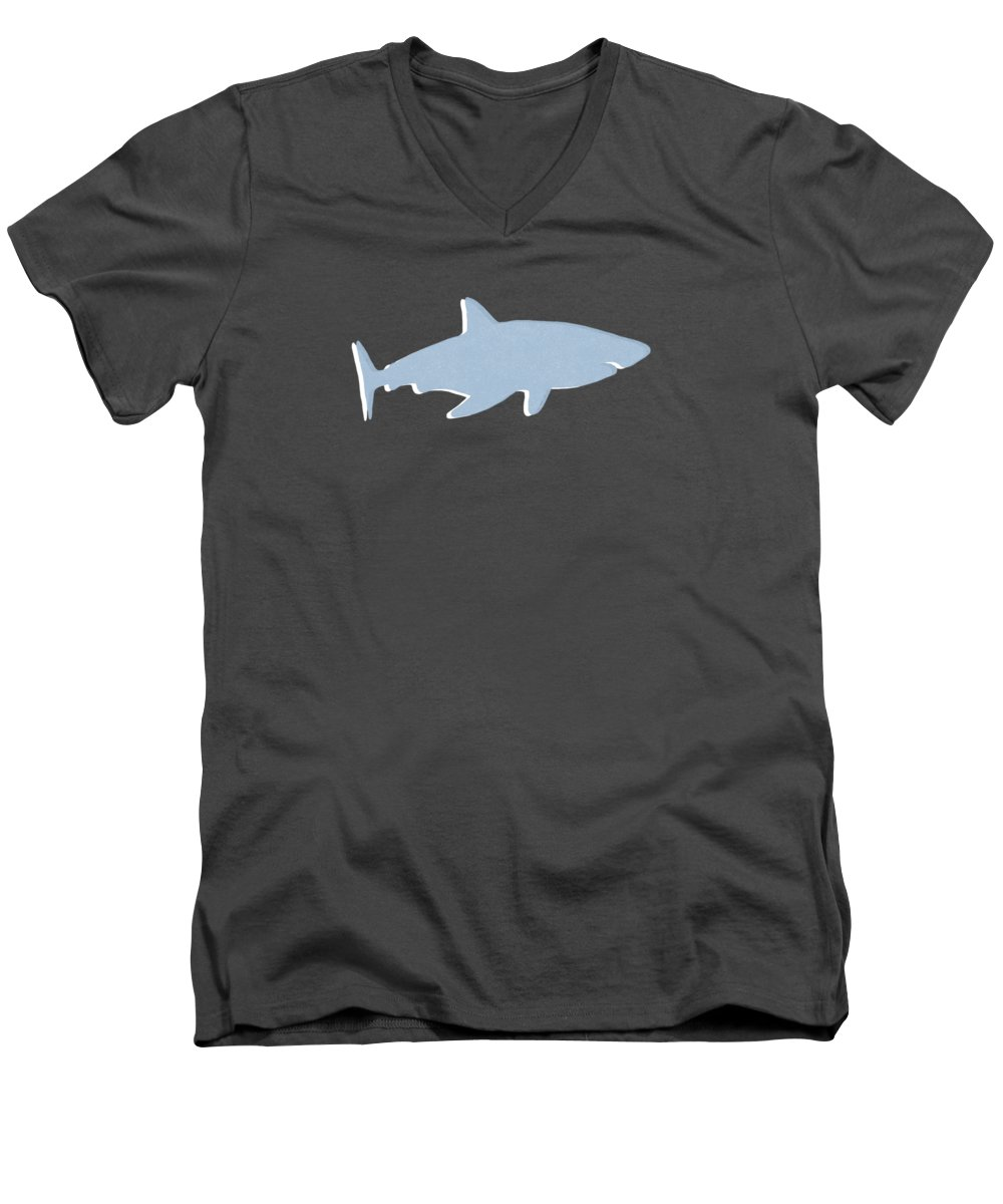 Shark Men's V-Neck T-Shirt featuring the mixed media Grey and Yellow Shark by Linda Woods