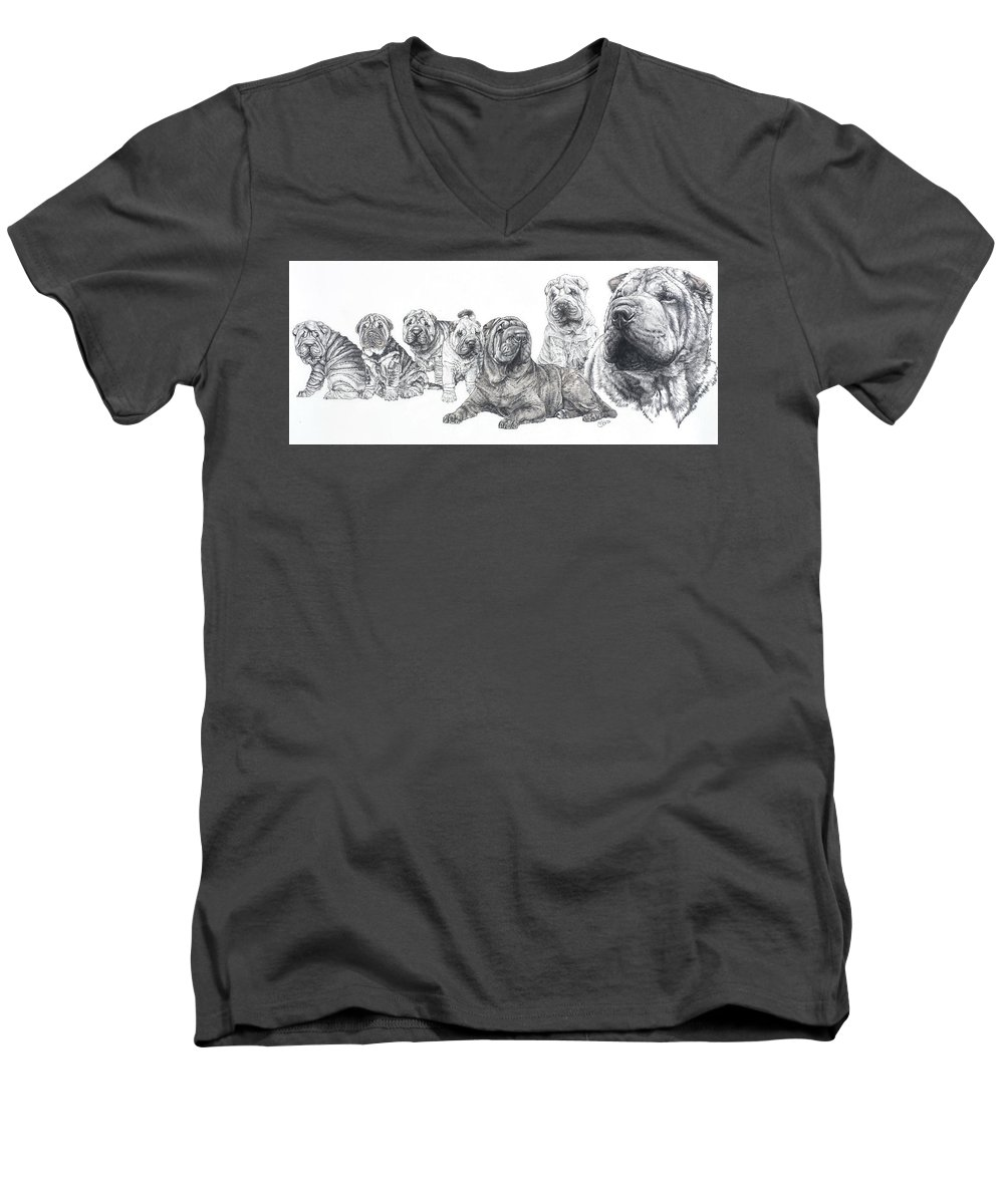 Dog Men's V-Neck T-Shirt featuring the drawing Growing Up Chinese Shar-pei by Barbara Keith