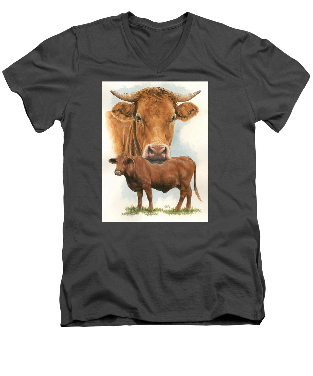 Cow Men's V-Neck T-Shirt featuring the mixed media Guernsey by Barbara Keith