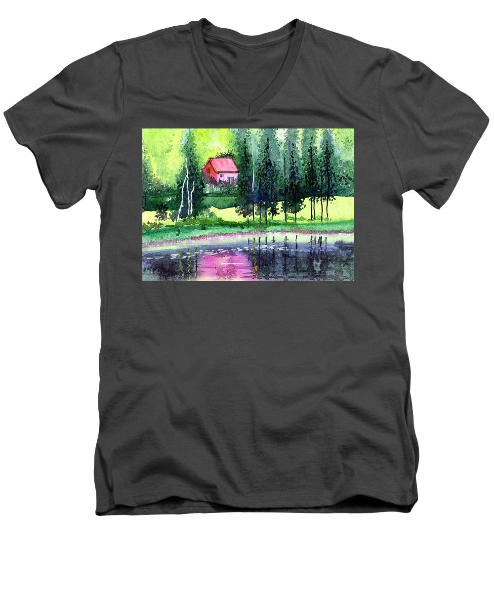 Landscape Men's V-Neck T-Shirt featuring the painting Guest House by Anil Nene