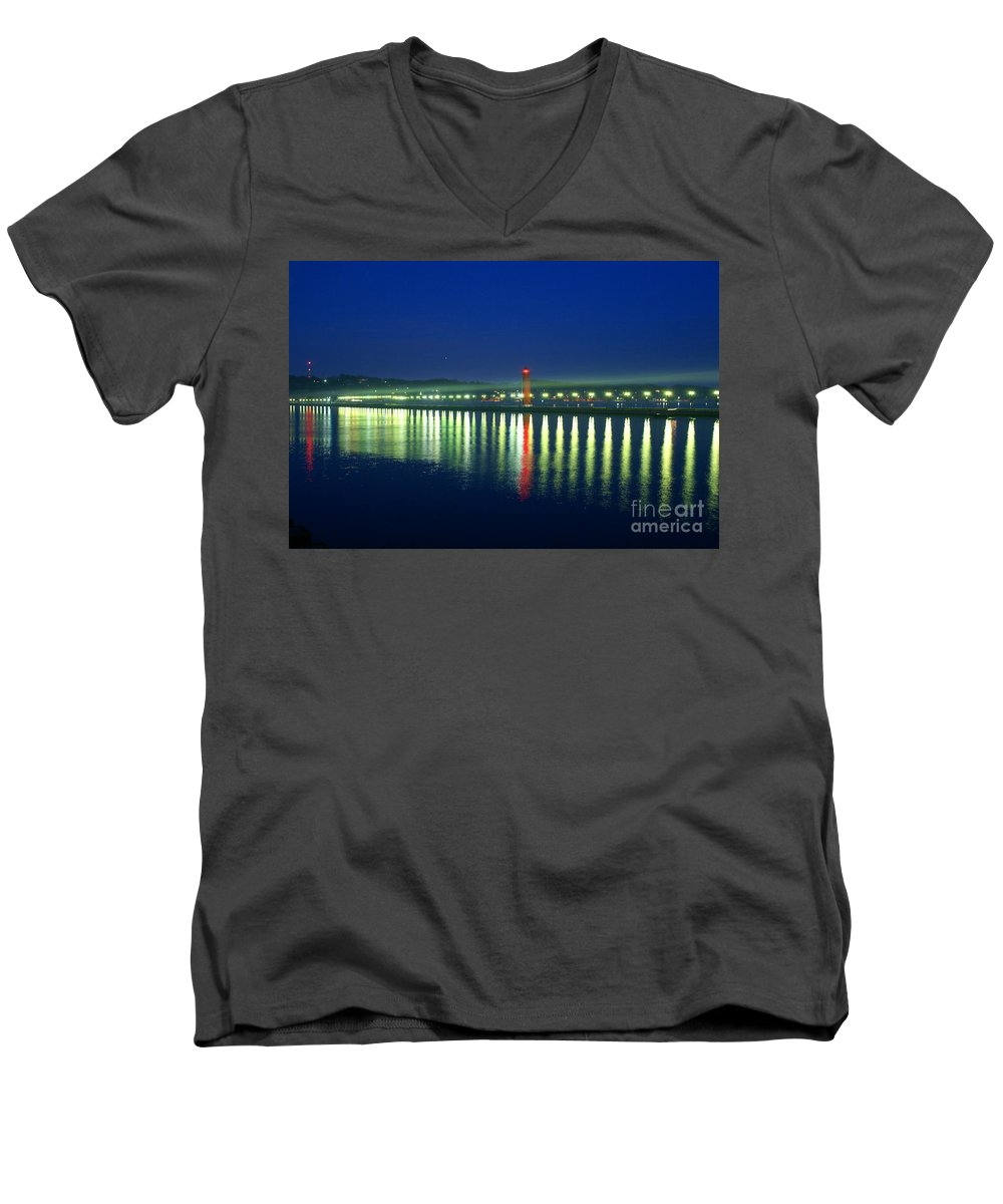 Pier Men's V-Neck T-Shirt featuring the photograph Guiding Light by Robert Pearson