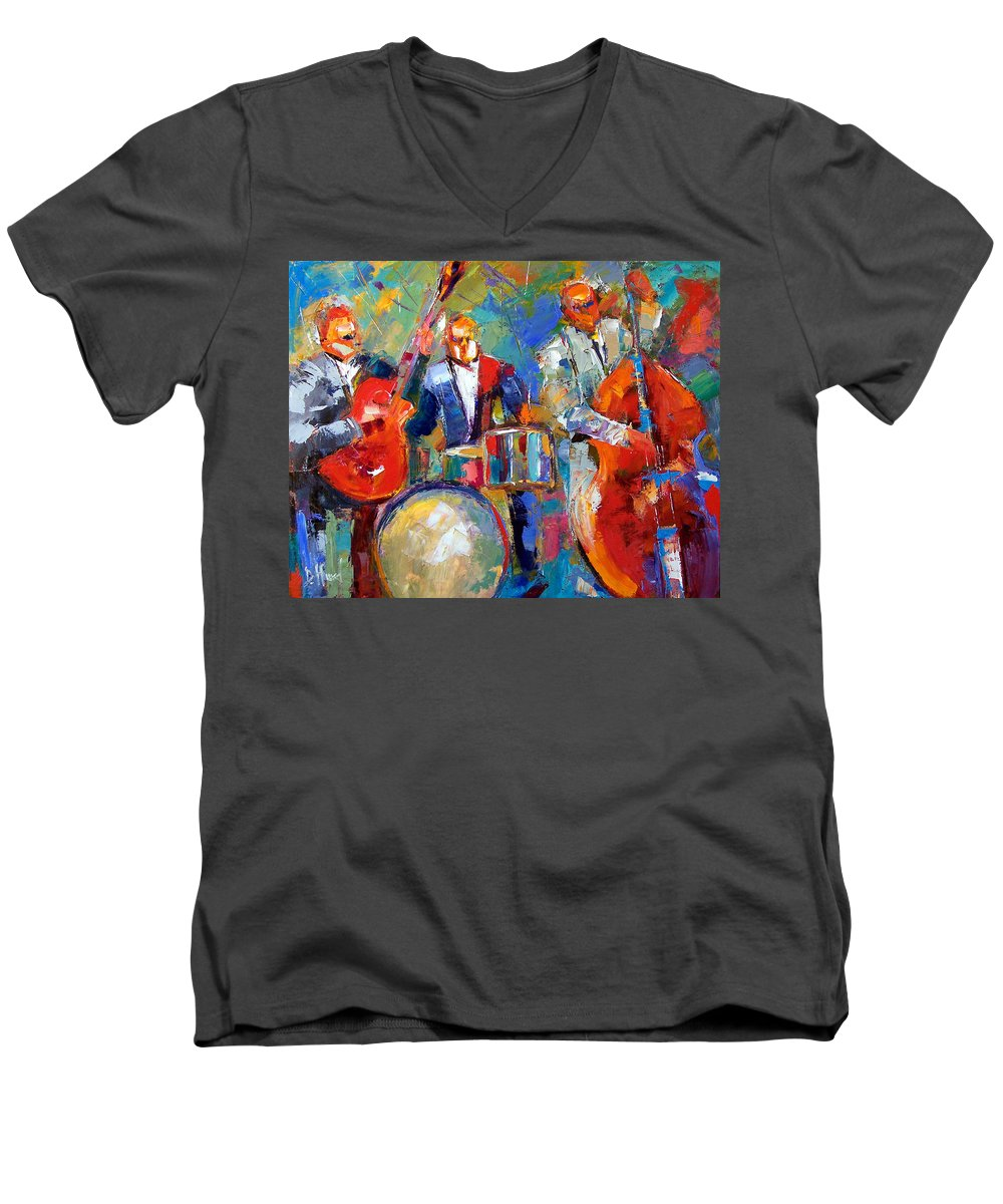 Jazz Painting Men's V-Neck T-Shirt featuring the painting Guitar Drums And Bass by Debra Hurd