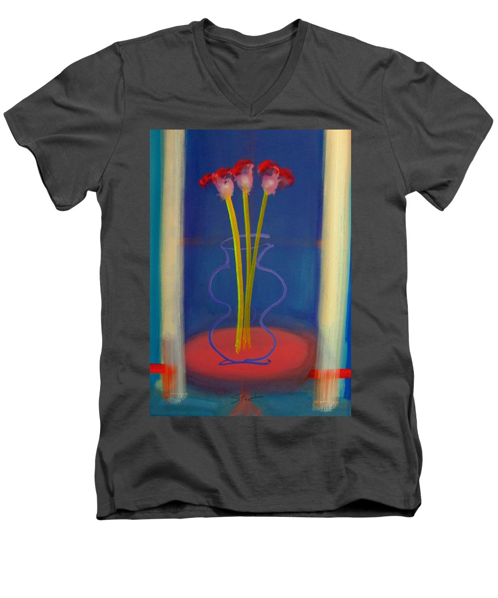 Guitar Men's V-Neck T-Shirt featuring the painting Guitar Vase by Charles Stuart