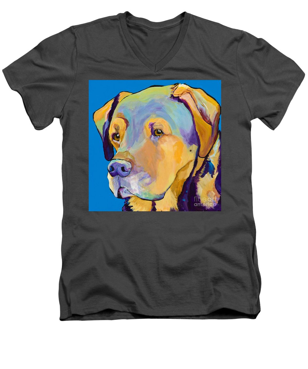 Dog Portrait Men's V-Neck T-Shirt featuring the painting Gunner by Pat Saunders-White