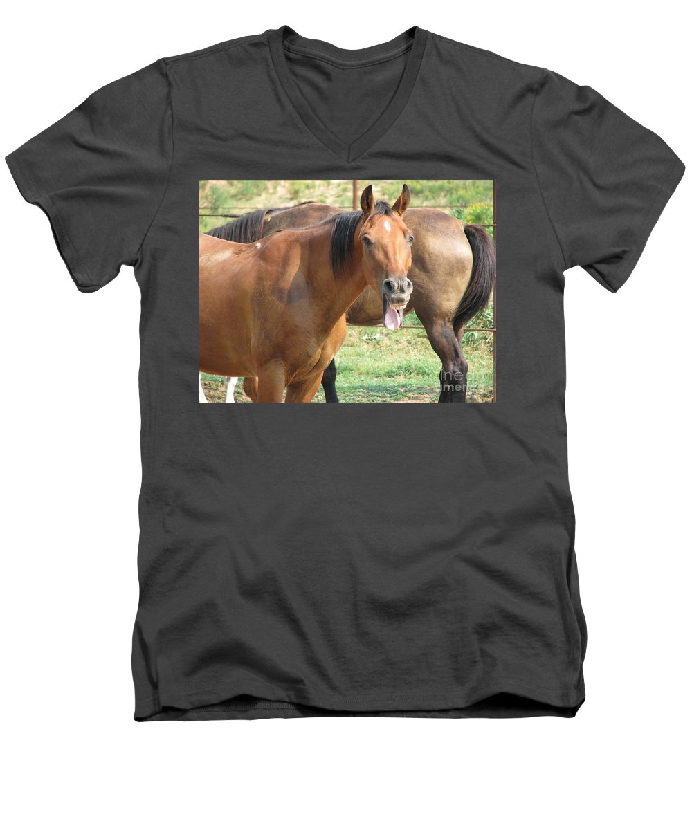 Horse Men's V-Neck T-Shirt featuring the photograph Haaaaa by Amanda Barcon